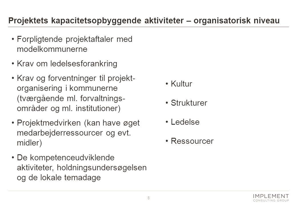 8 •Forpligtende projektaftaler med modelkommunerne •Krav om ledelsesforankring •Krav og forventninger til projekt- organisering i kommunerne (tværgående ml.