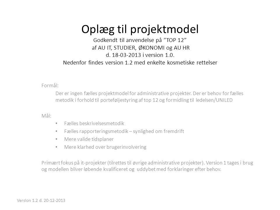 """Oplæg til projektmodel Godkendt til anvendelse på """"TOP 12"""" af AU IT, STUDIER, ØKONOMI og AU HR d. 18-03-2013 i version 1.0. Nedenfor findes version 1."""