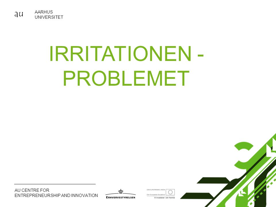 au AARHUS UNIVERSITET AU CENTRE FOR ENTREPRENEURSHIP AND INNOVATION IRRITATIONEN - PROBLEMET