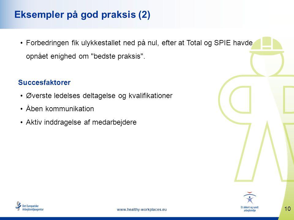 10 www.healthy-workplaces.eu Eksempler på god praksis (2) •Forbedringen fik ulykkestallet ned på nul, efter at Total og SPIE havde opnået enighed om bedste praksis .