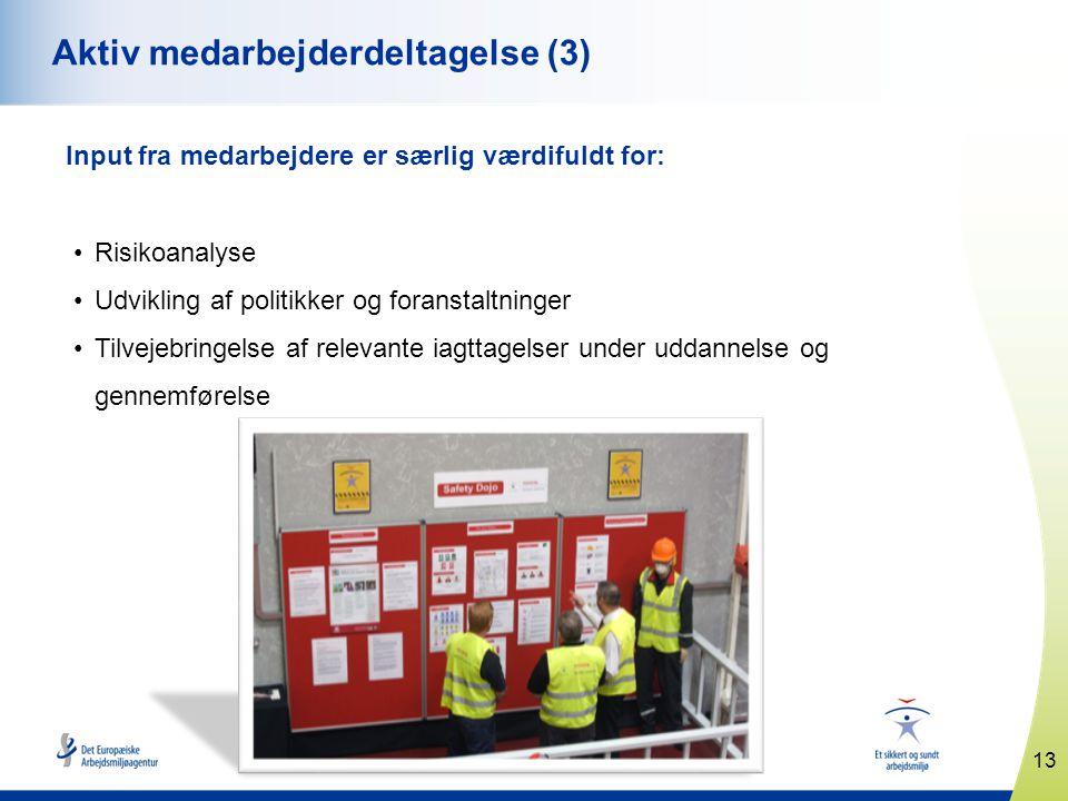 13 www.healthy-workplaces.eu Aktiv medarbejderdeltagelse (3) Input fra medarbejdere er særlig værdifuldt for: •Risikoanalyse •Udvikling af politikker og foranstaltninger •Tilvejebringelse af relevante iagttagelser under uddannelse og gennemførelse