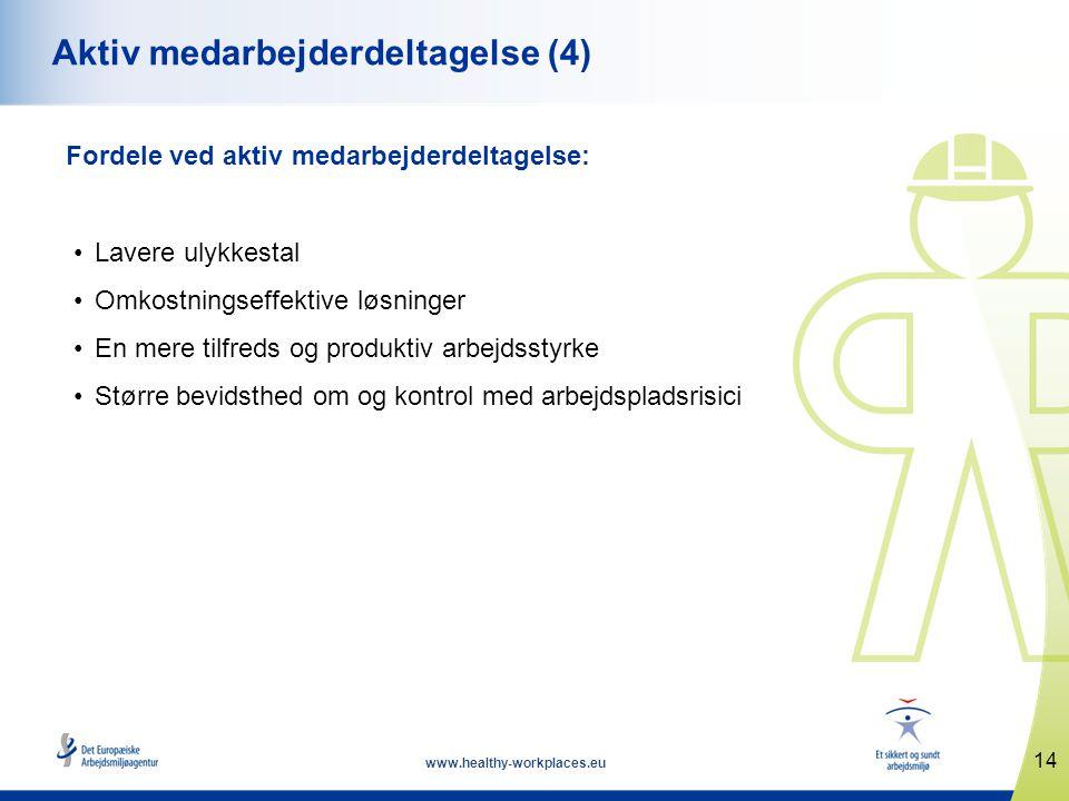 14 www.healthy-workplaces.eu Aktiv medarbejderdeltagelse (4) Fordele ved aktiv medarbejderdeltagelse: •Lavere ulykkestal •Omkostningseffektive løsninger •En mere tilfreds og produktiv arbejdsstyrke •Større bevidsthed om og kontrol med arbejdspladsrisici