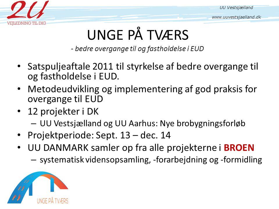 UNGE PÅ TVÆRS - bedre overgange til og fastholdelse i EUD • Satspuljeaftale 2011 til styrkelse af bedre overgange til og fastholdelse i EUD.