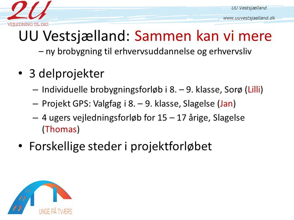UU Vestsjælland: Sammen kan vi mere – ny brobygning til erhvervsuddannelse og erhvervsliv • 3 delprojekter – Individuelle brobygningsforløb i 8.