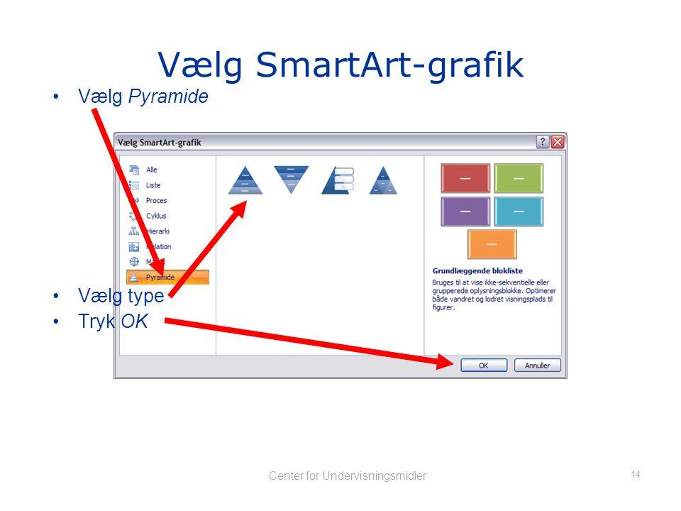 13 Center for Undervisningsmidler Indsæt SmartArt •Tryk Indsæt SmartArt-grafik