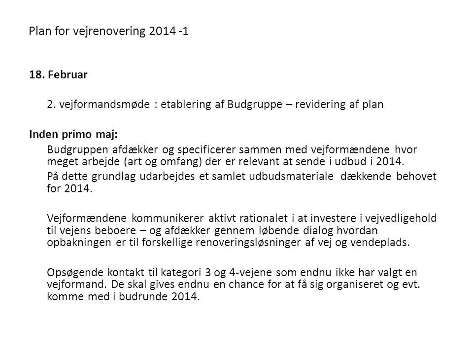 Plan for vejrenovering 2014 -1 18. Februar 2.