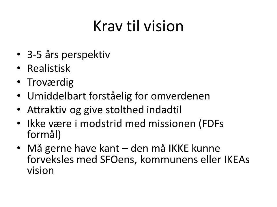 Krav til vision • 3-5 års perspektiv • Realistisk • Troværdig • Umiddelbart forståelig for omverdenen • Attraktiv og give stolthed indadtil • Ikke være i modstrid med missionen (FDFs formål) • Må gerne have kant – den må IKKE kunne forveksles med SFOens, kommunens eller IKEAs vision