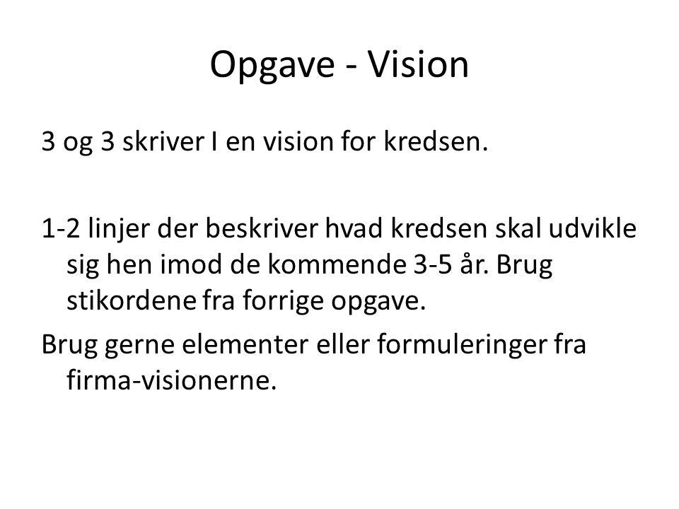 Opgave - Vision 3 og 3 skriver I en vision for kredsen.
