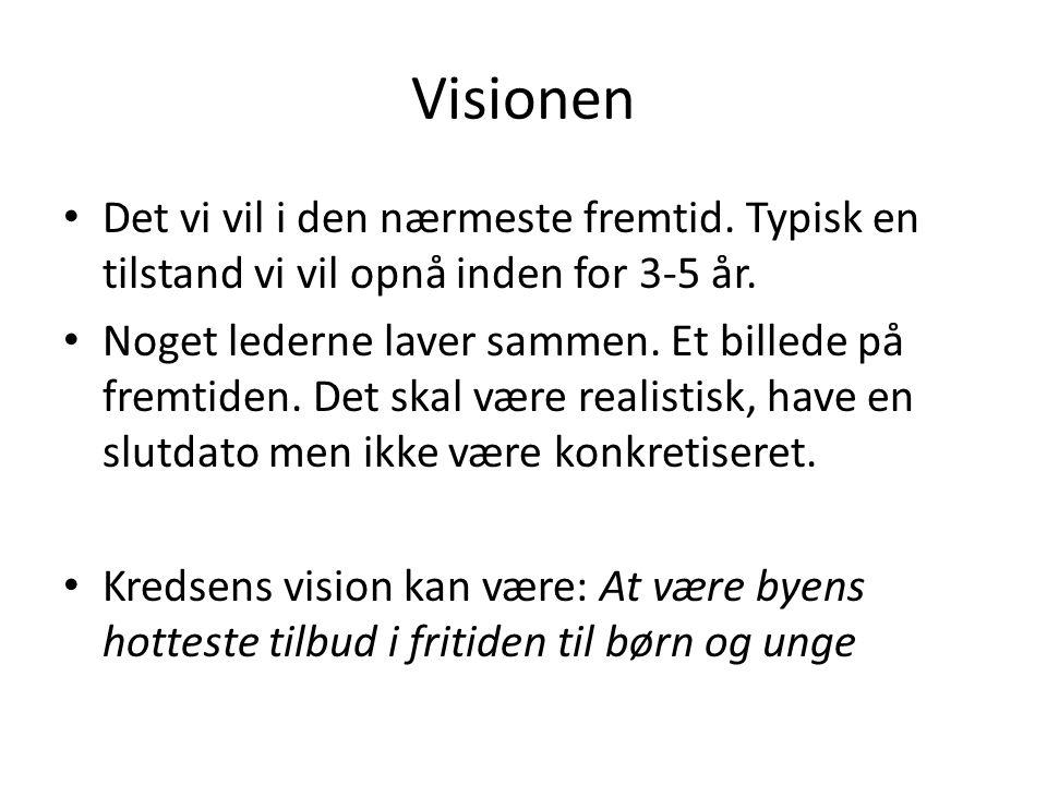 Visionen • Det vi vil i den nærmeste fremtid. Typisk en tilstand vi vil opnå inden for 3-5 år.