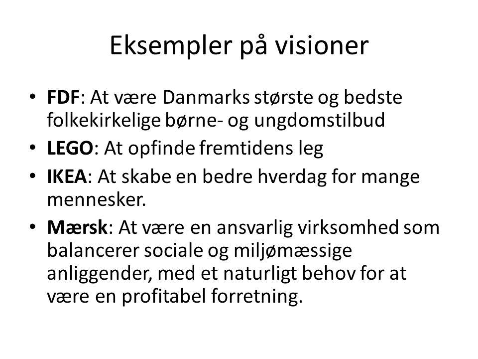 Eksempler på visioner • FDF: At være Danmarks største og bedste folkekirkelige børne- og ungdomstilbud • LEGO: At opfinde fremtidens leg • IKEA: At skabe en bedre hverdag for mange mennesker.