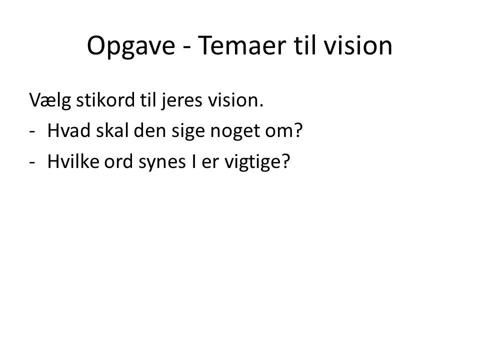 Opgave- Temaer til vision Vælg stikord til jeres vision.