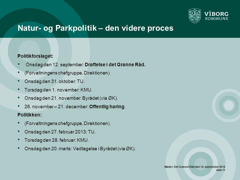 Møde i Det Grønne Råd den 12.