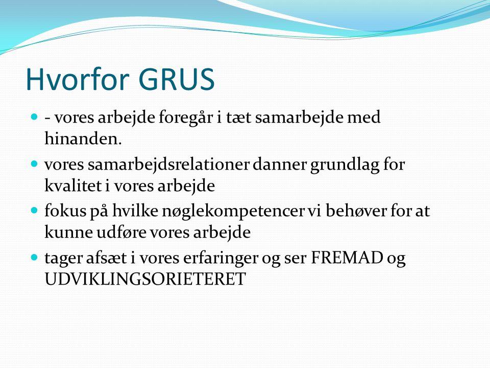 Hvorfor GRUS  - vores arbejde foregår i tæt samarbejde med hinanden.