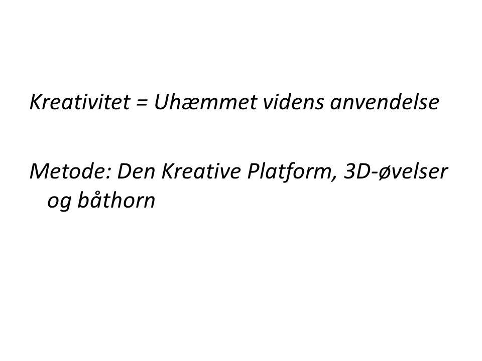 Kreativitet = Uhæmmet videns anvendelse Metode: Den Kreative Platform, 3D-øvelser og båthorn