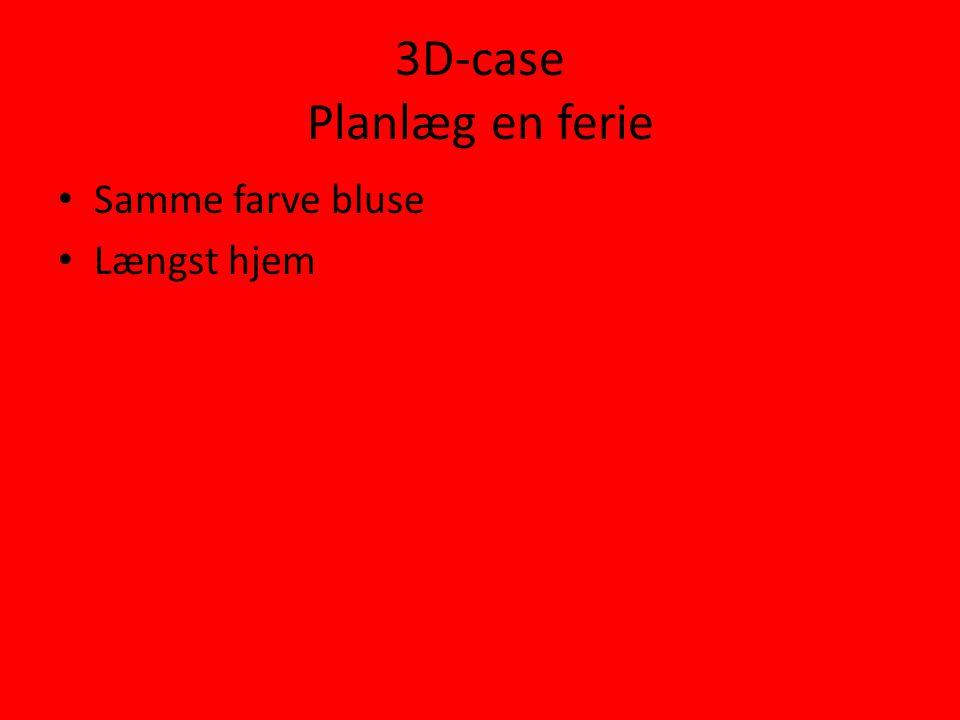 3D-case Planlæg en ferie • Samme farve bluse • Længst hjem
