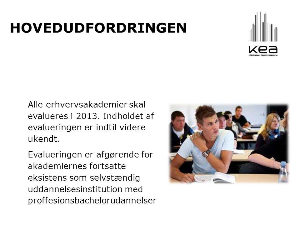 Alle erhvervsakademier skal evalueres i 2013. Indholdet af evalueringen er indtil videre ukendt.