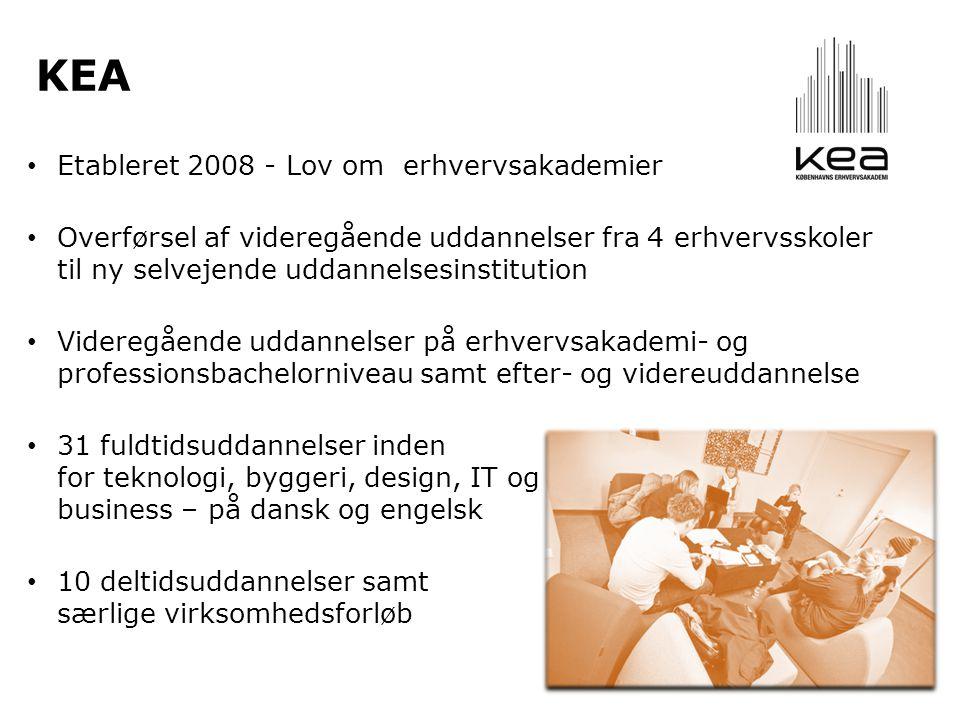 KEA • Etableret 2008 - Lov om erhvervsakademier • Overførsel af videregående uddannelser fra 4 erhvervsskoler til ny selvejende uddannelsesinstitution • Videregående uddannelser på erhvervsakademi- og professionsbachelorniveau samt efter- og videreuddannelse • 31 fuldtidsuddannelser inden for teknologi, byggeri, design, IT og business – på dansk og engelsk • 10 deltidsuddannelser samt særlige virksomhedsforløb