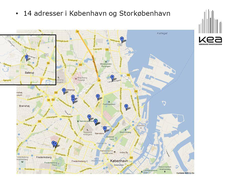 • 14 adresser i København og Storkøbenhavn