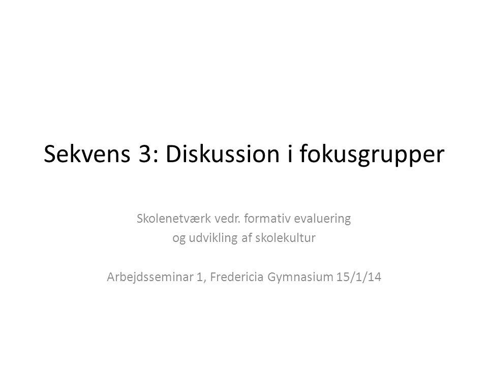 Sekvens 3: Diskussion i fokusgrupper Skolenetværk vedr.