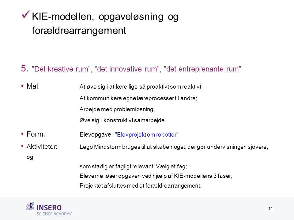 Tekstslide med bullets Brug 'Forøge/Formindske indryk'-knappen for at skifte mellem de forskellige niveauer  KIE-modellen, opgaveløsning og forældrearrangement 5.