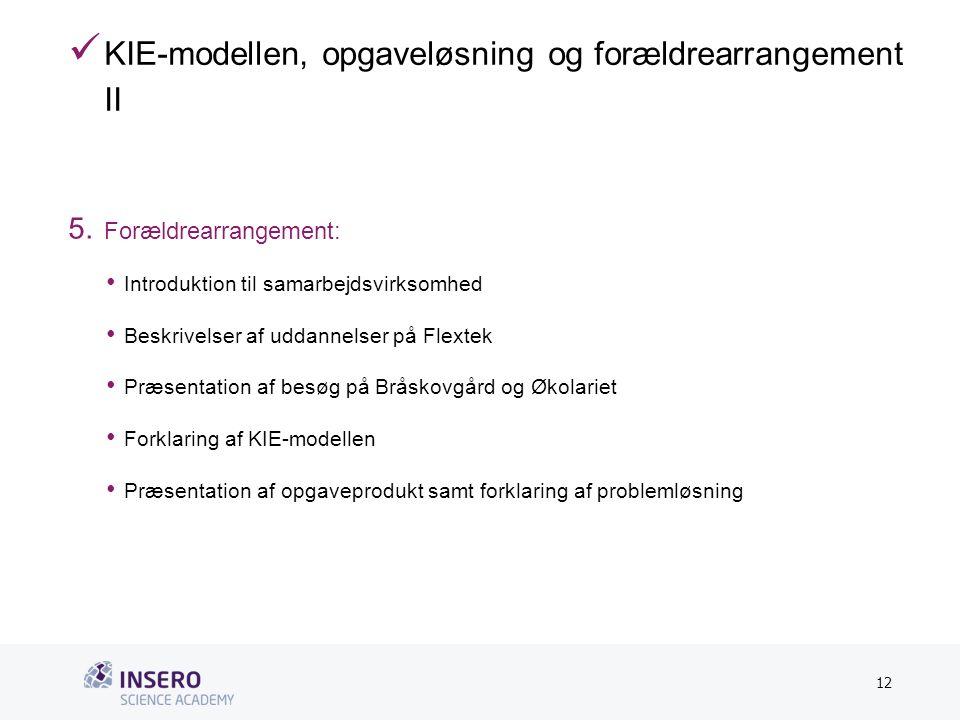 Tekstslide med bullets Brug 'Forøge/Formindske indryk'-knappen for at skifte mellem de forskellige niveauer  KIE-modellen, opgaveløsning og forældrearrangement II 5.