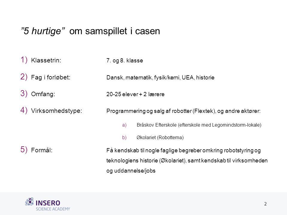 Tekstslide med bullets Brug 'Forøge/Formindske indryk'-knappen for at skifte mellem de forskellige niveauer 5 hurtige om samspillet i casen 1) Klassetrin: 7.