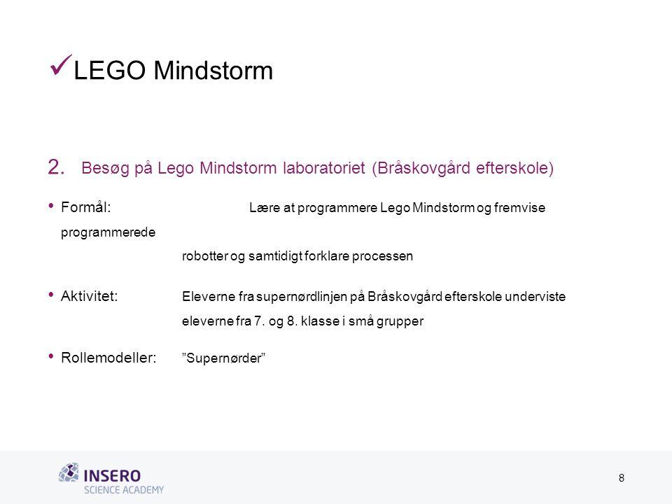 Tekstslide med bullets Brug 'Forøge/Formindske indryk'-knappen for at skifte mellem de forskellige niveauer  LEGO Mindstorm 2.