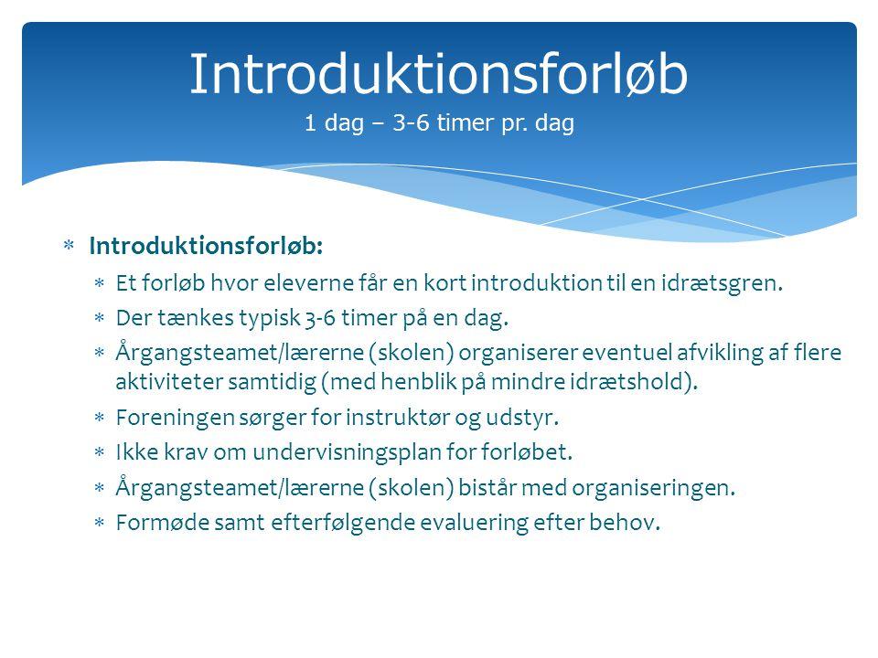 Introduktionsforløb 1 dag – 3-6 timer pr.