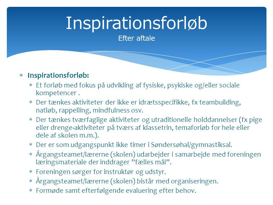 Inspirationsforløb Efter aftale  Inspirationsforløb:  Et forløb med fokus på udvikling af fysiske, psykiske og/eller sociale kompetencer.
