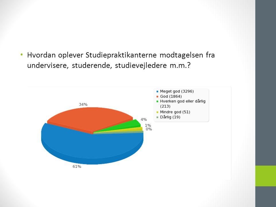 • Hvordan oplever Studiepraktikanterne modtagelsen fra undervisere, studerende, studievejledere m.m.