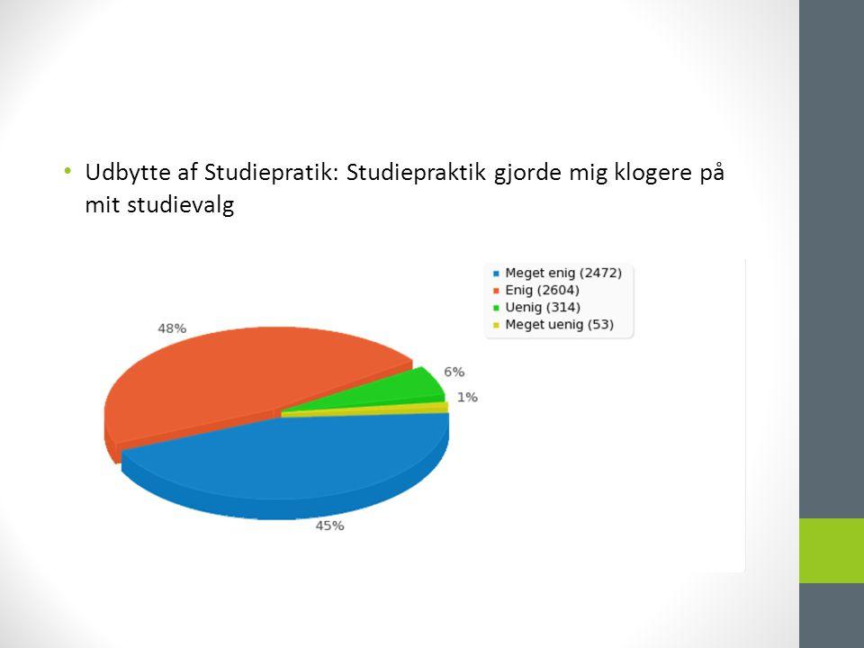 • Udbytte af Studiepratik: Studiepraktik gjorde mig klogere på mit studievalg