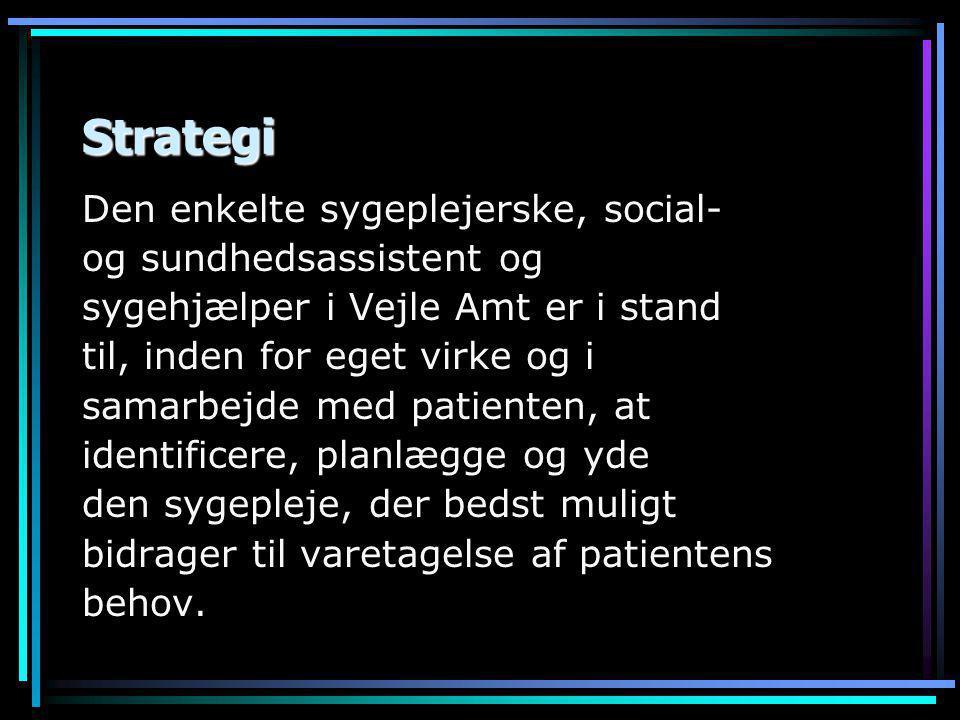 Strategi Den enkelte sygeplejerske, social- og sundhedsassistent og sygehjælper i Vejle Amt er i stand til, inden for eget virke og i samarbejde med patienten, at identificere, planlægge og yde den sygepleje, der bedst muligt bidrager til varetagelse af patientens behov.