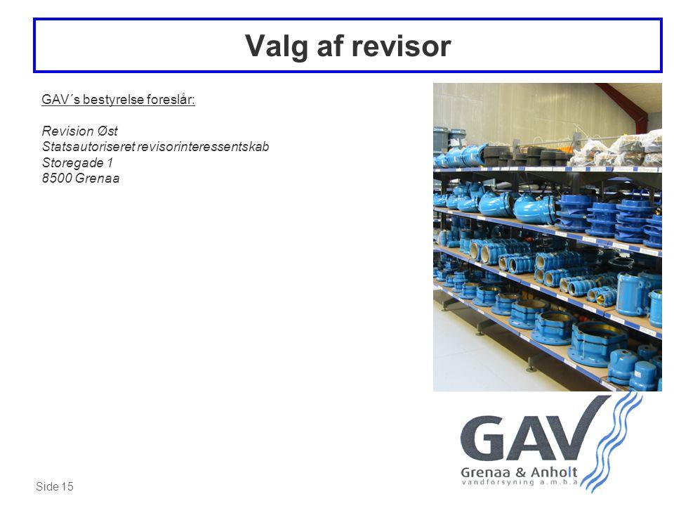 Side 15 Valg af revisor GAV´s bestyrelse foreslår: Revision Øst Statsautoriseret revisorinteressentskab Storegade 1 8500 Grenaa