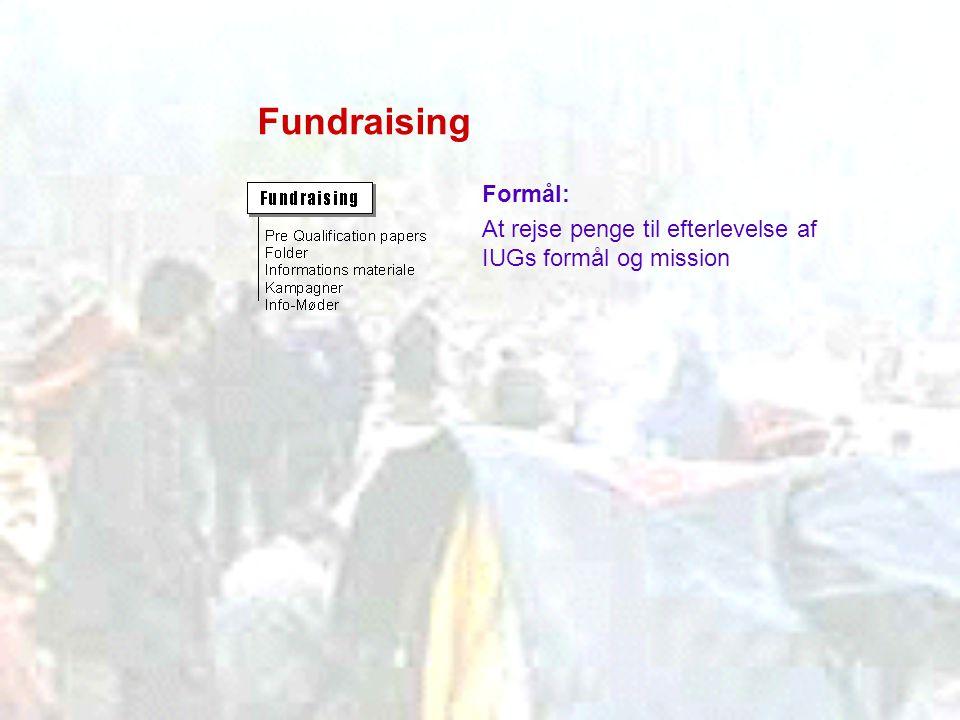 Fundraising Formål: At rejse penge til efterlevelse af IUGs formål og mission