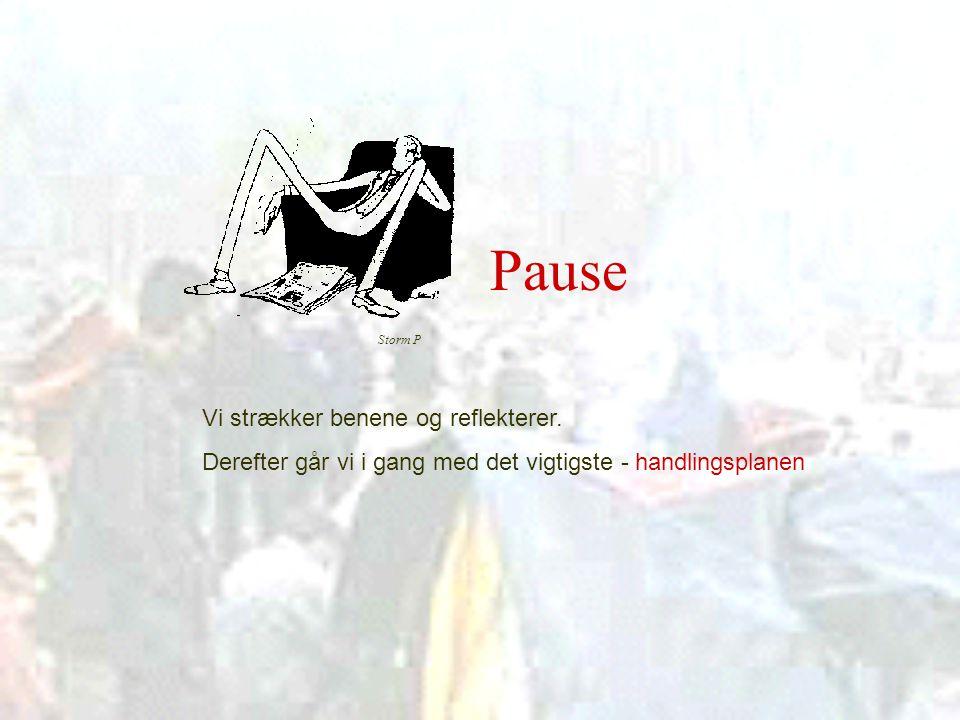 Pause Vi strækker benene og reflekterer.