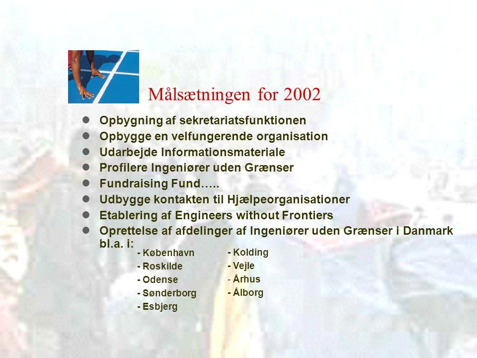 Målsætningen for 2002  Opbygning af sekretariatsfunktionen  Opbygge en velfungerende organisation  Udarbejde Informationsmateriale  Profilere Ingeniører uden Grænser  Fundraising Fund…..