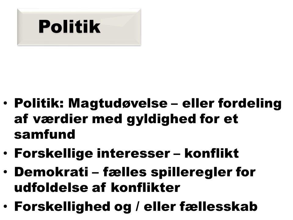 Politik • Politik: Magtudøvelse – eller fordeling af værdier med gyldighed for et samfund • Forskellige interesser – konflikt • Demokrati – fælles spilleregler for udfoldelse af konflikter • Forskellighed og / eller fællesskab