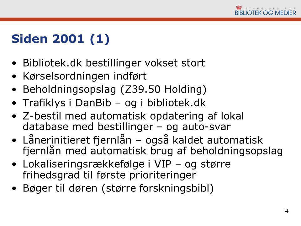4 Siden 2001 (1) •Bibliotek.dk bestillinger vokset stort •Kørselsordningen indført •Beholdningsopslag (Z39.50 Holding) •Trafiklys i DanBib – og i bibliotek.dk •Z-bestil med automatisk opdatering af lokal database med bestillinger – og auto-svar •Lånerinitieret fjernlån – også kaldet automatisk fjernlån med automatisk brug af beholdningsopslag •Lokaliseringsrækkefølge i VIP – og større frihedsgrad til første prioriteringer •Bøger til døren (større forskningsbibl)