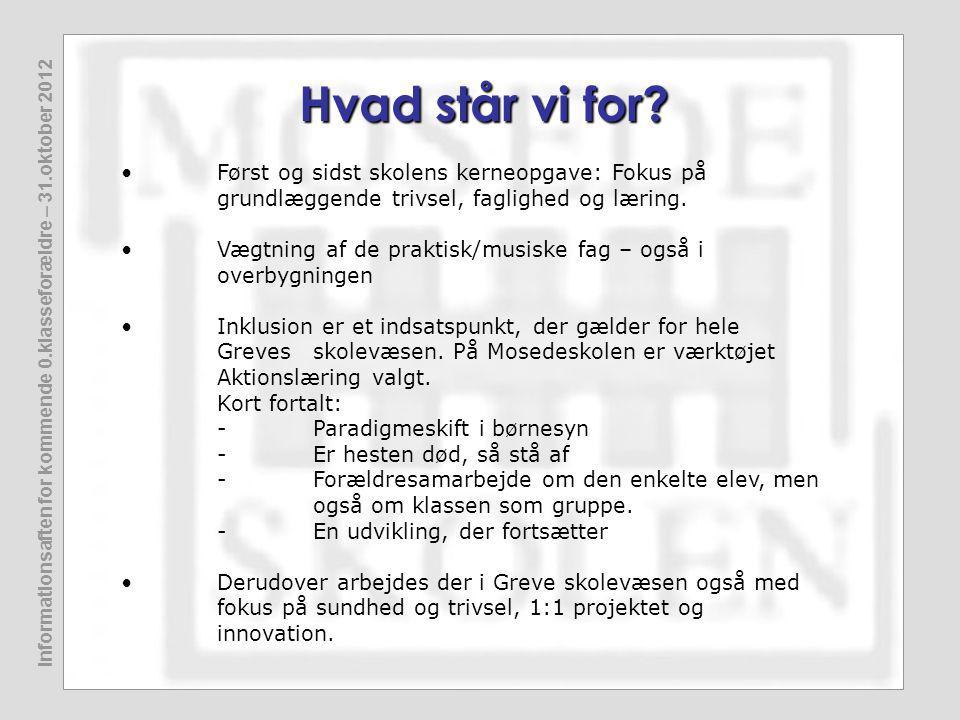 Informationsaften for kommende 0.klasseforældre – 31.oktober 2012 Hvad står vi for.