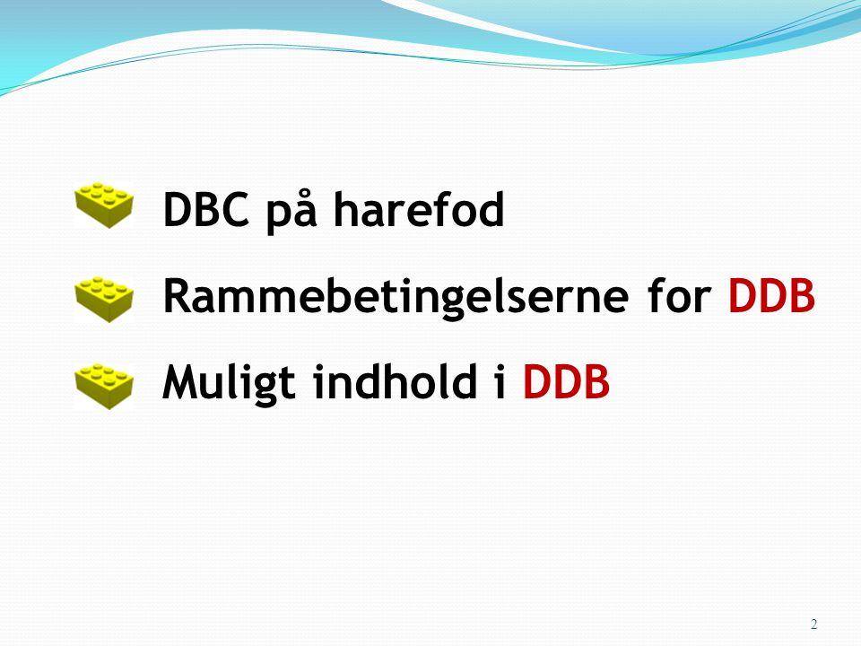 • DBC på harefod • Rammebetingelserne for DDB • Muligt indhold i DDB 2