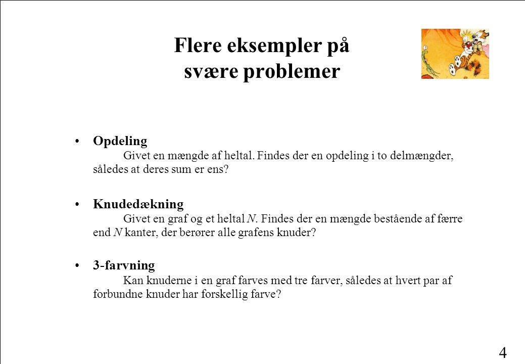 3 Eksempler på svære problemer •Den rejsende sælgers problem En sælger skal besøge N byer.