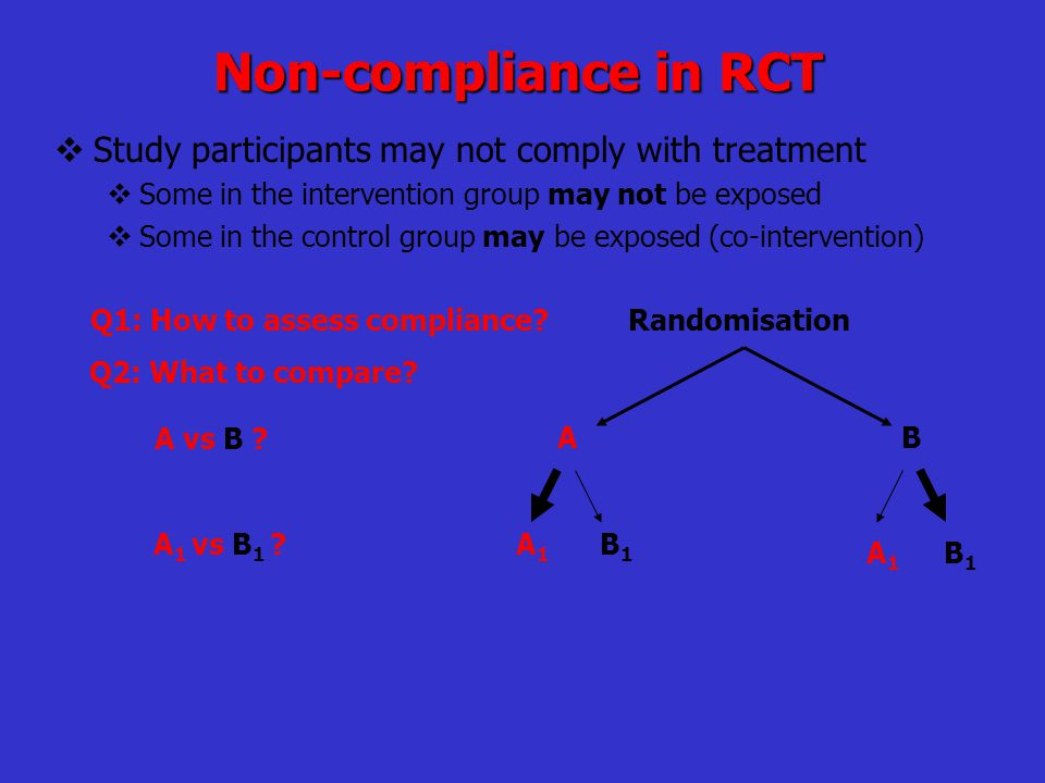Non-compliance in RCT  Study participants may not comply with treatment  Some in the intervention group may not be exposed  Some in the control gro