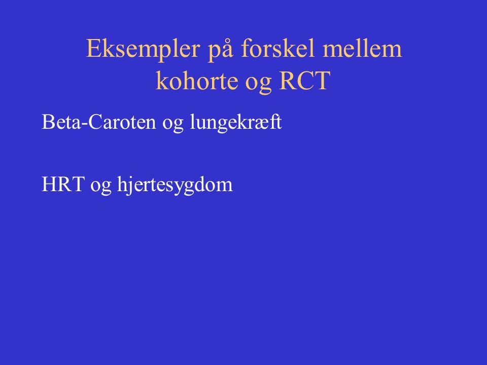 Eksempler på forskel mellem kohorte og RCT Beta-Caroten og lungekræft HRT og hjertesygdom