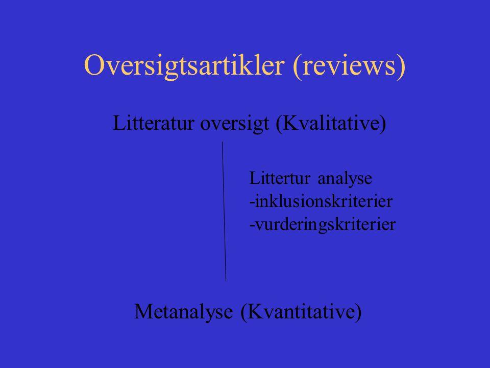 Oversigtsartikler (reviews) Litteratur oversigt (Kvalitative) Metanalyse (Kvantitative) Littertur analyse -inklusionskriterier -vurderingskriterier