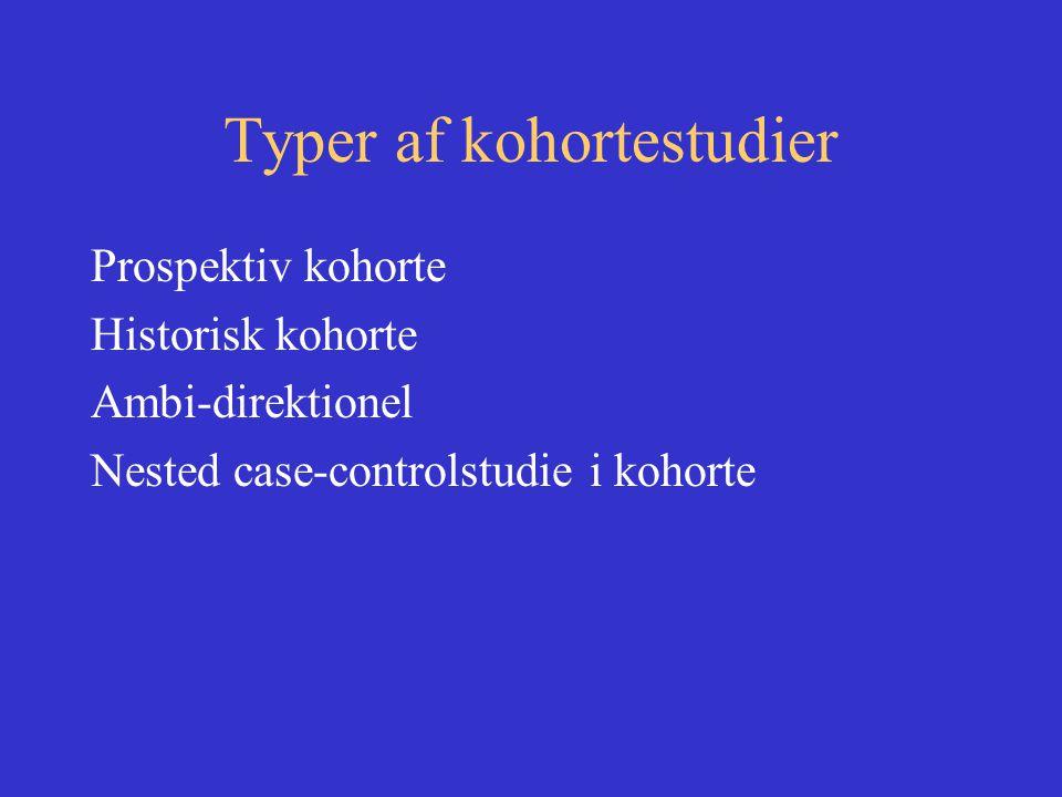 Typer af kohortestudier Prospektiv kohorte Historisk kohorte Ambi-direktionel Nested case-controlstudie i kohorte