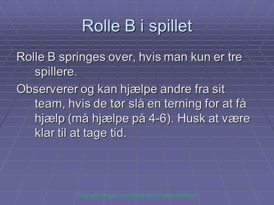 Rolle B i spillet Rolle B springes over, hvis man kun er tre spillere.
