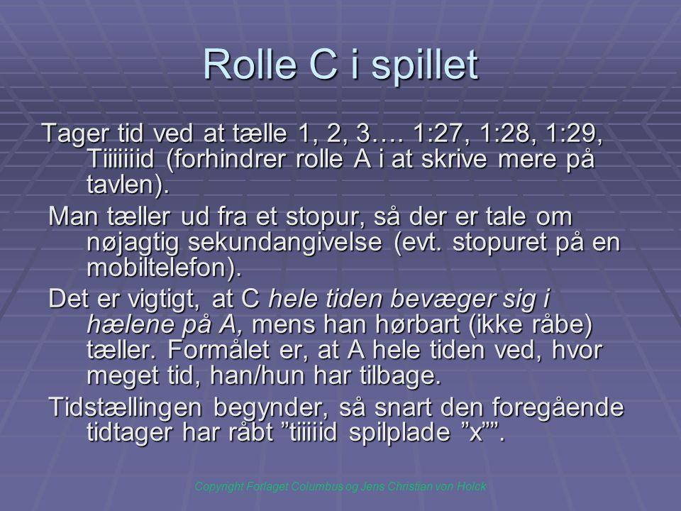 Rolle C i spillet Tager tid ved at tælle 1, 2, 3….