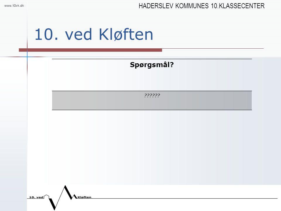 HADERSLEV KOMMUNES 10.KLASSECENTER www.10vk.dk 10. ved Kløften Spørgsmål