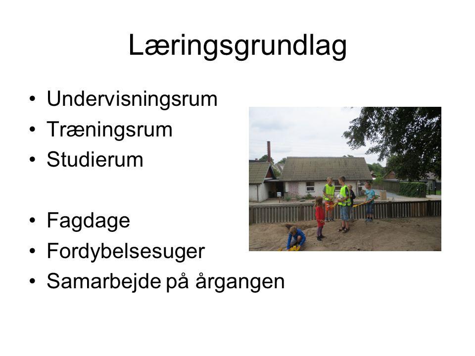 Læringsgrundlag •Undervisningsrum •Træningsrum •Studierum •Fagdage •Fordybelsesuger •Samarbejde på årgangen