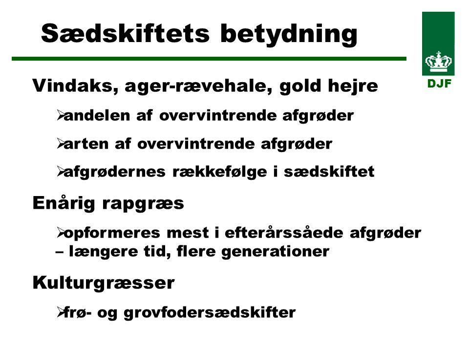 Sædskiftets betydning DJF Vindaks, ager-rævehale, gold hejre  andelen af overvintrende afgrøder  arten af overvintrende afgrøder  afgrødernes rækkefølge i sædskiftet Enårig rapgræs  opformeres mest i efterårssåede afgrøder – længere tid, flere generationer Kulturgræsser  frø- og grovfodersædskifter